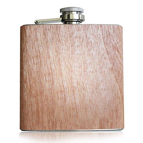 Pixelstudio Holz Flachmann 6 oz - ca. 180 ml | Originelle & Hochwertige Taschenflasche für Alkohol