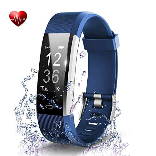 Antimi Fitness Trackers,Heart Rate Monitor Waterproof IP67 Fitness Activity Tracker Watch,Sleep Monitor Step Counter Pedometer Watch for Kids Men Women SMS Push for iOS Android Phones (Blue)