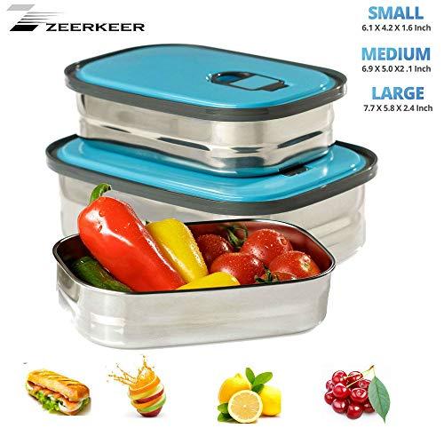 Bento Boxen,Zeerkeer 3Teile Lunchbox -【1160ml 730ml 420ml 】 Edelstahl PP Auslaufsicher Food Container Set für Essenslager Gemüse Obst Salat Kinder Jungen (blau)