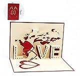 Karte zum Valentinstag,Deesos Geburtstagskarte für Liebhaber, 3D Pop-Up-Grußkarte mit schönen Papier-Cut, beste Geschenk für den Geburtstag oder Jahrestag des Liebhabers, Umschlag enthalten (Liebe)