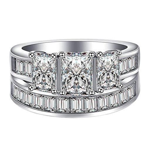 Purmy Damen Ring Weißes Gold überzogen Weiß Cubic Zirconia Prinzessin Schnitt Zirconia Set Ringe Mode Stil zum Damen Größe 54 (17.2) (Weiß Gold Prinzessin Schnitt Ring Set)