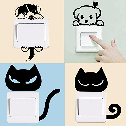 DolDer 4 Stücke Steckdose Aufkleber Wandtattoo Aufkleber Wandsticker Steckdose Sticker für alle glatten Flächen Lichtschalter, Steckdose, Fenster im Kinderzimmer Wohnzimmer (2 Hunde, 2 Katze)