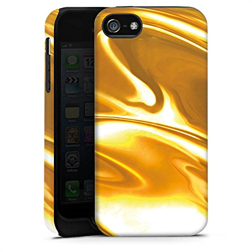 Apple iPhone 5 Housse étui coque protection Or liquide Motif Motif Cas Tough terne
