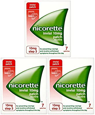 3 x 7 Pack Nicorette Invisi 10mg Patch Nicotine Patches (Step 3) by Nicorette