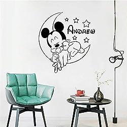Stickers Muraux Personnalisé Personnalisé Mickey Mouse Nursery Personnalisé Bébé Nom Cartoon Home Decor Enfants Fille Chambre Garçon