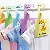 Baby Wardrobe Dividers - Safari Animals   Pack of 8 Hangers   Organise Baby