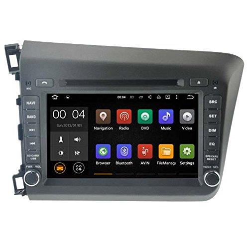 Autosion Android 7.1 Cortex A9 1.6 G Lecteur DVD de Voiture GPS Radio Head Unit Navi stéréo multimédia WiFi pour Honda Civic 2012 Support Commande au Volant