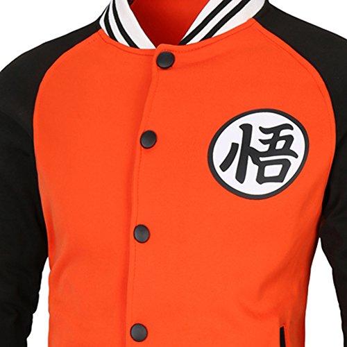 PIZZ ANNU Dragon Ball Z Son Goku Wu Wort Baseball Uniform Jacke Sweater Coat Orange&Schwarz