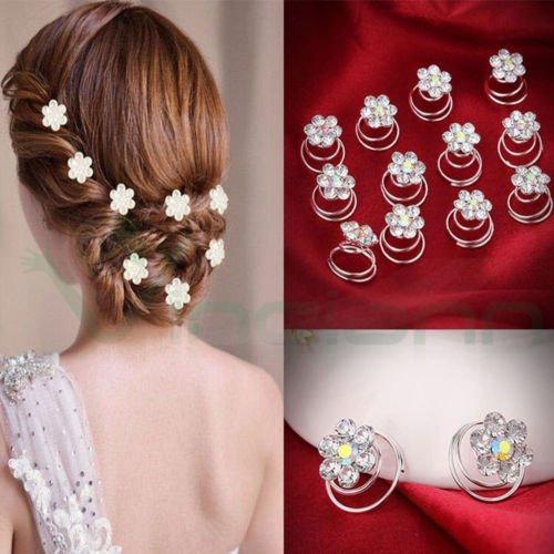 12Spirale Haarspange Haarnadeln Haar Strass Frisur Braut Hochzeit
