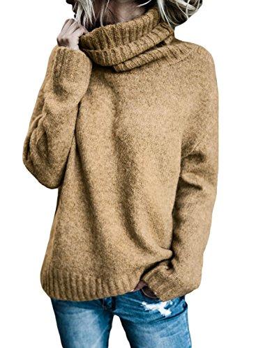 FIYOTE Strickpullover Damen Rollkragen Oberteile Jumper Sexy Pullover Winter Khaki S