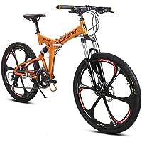 Extrbici Vélo Tout Terrain VTT Cyrusher Vélo de Montagne avec Suspension de la Fourche et Frein Mécanique, Cadre en Alliage d'Aluminium Rouge Blanc (UK STOCK)