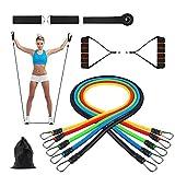 11er Resistance bands Widerstandsbänder Gymnastikbänder Set mit Griffe,Türanker & Fußschlaufen Trainingsbänder