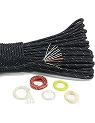 pskook 550nailon fuego reflectante paracaídas con yesca Fire Cable de partida y PE trenzado Pesca Línea, negro