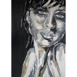 Portrait XXL 100 x 140 cm black & white Unikat Original Gemälde groß Leinwand exclusiv Geschenk schwarz weiß Bilder Kunst Acryl handgemalt