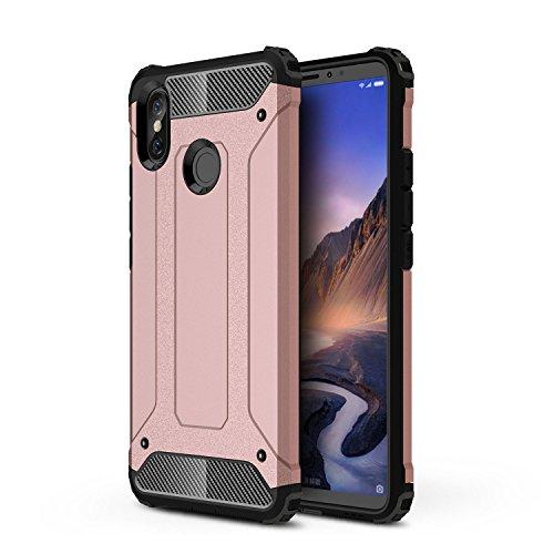 TANYO Xiaomi Mi MAX 3 Heavy-Duty Hybrid Double Armor Phone Case, Extraíble 2 en 1 a Prueba de Golpes Robusto y Durable Fashion Ultra-Thin Funda Protectora Oro Rosa.