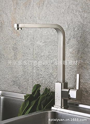 furesnts maison moderne Cuisine et évier Couvre-feux Retro européenne tout le cuivre chaud et froid bassin Kitchen Sink Faucet Taps, (Standard G 1/2ports flexible universelle)