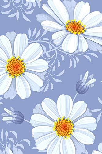 Carnet de Notes: Petit journal personnel de 121 pages blanches avec couverture fantaisie « Fleurs fond mauve » par Virginie Polissou