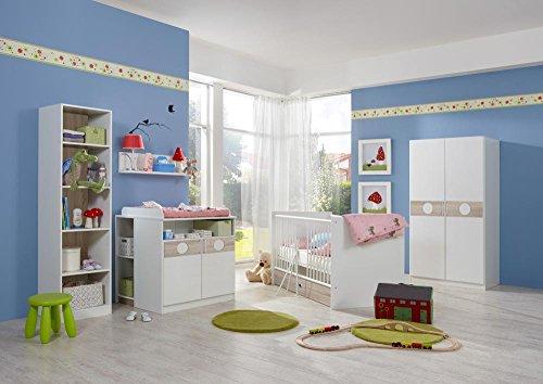 lifestyle4living Babyzimmer, Babyzimmermöbel, Baby Komplettzimmer, Set weiß, Babybett, Wickelkommode