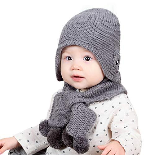 e3861aad3b11 Chapeau Enfant ADESHOP Mode Enfants GarçOn Fille d hiver Chaud Couleur Unie Chapeau  éCharpe BéBé
