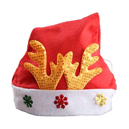 BESTOYARD Weihnachtshut Elch Schneeflocke Glitter Santa Hut lustige Partyhüte Weihnachten Kostüm Dekoration Festliche Partyzubehör