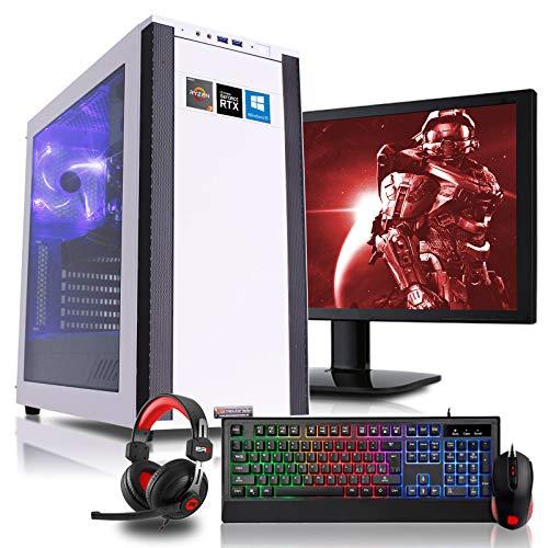 dercomputerladen Gaming Komplett PC Set M25-W AMD Ryzen 7-3800X 8x3.9 GHz - 240GB SSD & 1TB HDD, 16GB DDR4, RTX2080 8GB, mit 24 Zoll TFT, Maus, Tastatur, Headset, WLAN, Windows 10 Pro (Surround-sound-wireless-tower)