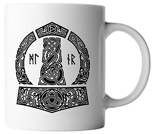 vanVerden Tasse Vikings Thor Hammer Wikinger Gott Donner inkl. Geschenkkarte, Farbe:Weiß/Schwarz