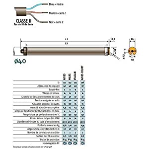 SOMFY - Moteur 230V/50Hz LS40 MARS 9/14 avec carré de 10 somfy - 1020052