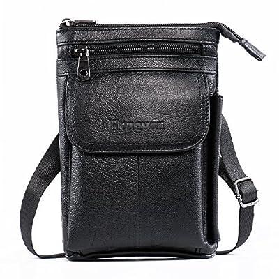Hengying Bandoulière en cuir véritable sac de fronde ceinture pochette téléphone portable pochette sac escalade randonnées