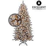 Excellent Trees Künstlicher Weihnachtsbaum Tannenbaum Christbaum Schnee-Effeckt LED Visby 180 cm mit Beleuchtung und Schnee, 290 Lämpchen beleuchtet