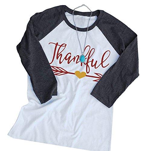 Vin beauty wlgreatsp Frau Frohe Weihnachten Thanksgiving Dankbarer Pfeil Lange Ärmel OAusschnitt Bluse Tshirt XL (Ärmel T-shirt Pfeil-lange)