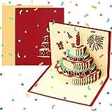 Biglietto Auguri Compleanno, 3D Pop Up Biglietti di Auguri Compleanno con Torta a 3 Strati per Papà Mamm Marito Moglie, Bigli