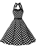 Dressystar, vestito a fiori da cocktail party con fascia in vita, stile retrò/rockabilly anni '50 - '60 Black White Dot L