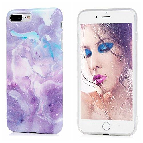 YOKIRIN Coque pour iPhone 7 Plus 5.5 Pouces, Premium Marbre Motif Souple TPU Étui Protection Bumper Housse Doux Silicone Gel Ultra Mince Case Cover IMD Technologie - Violet Violet