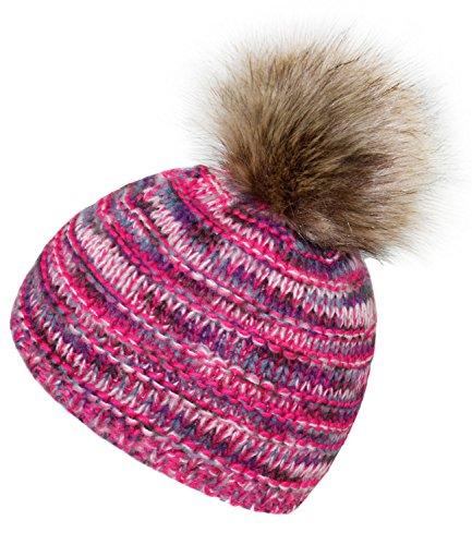 EveryHead Fiebig Mädchenpudelmütze Pudelmütze Bommelmütze Strickmütze Wollmütze Wintermütze Melange mit Fake Fur für Kinder (FI-75942-W17-MA1-10-53/55) in Pink, Größe 53/55 inkl Hutfibel