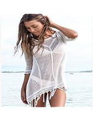qxj punto Bikini Playa Sun Traje de baño para Bañador de flecos blusa, Blanco,