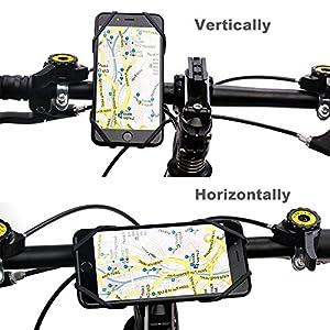 """GVDV Soporte Móvil Bicicleta Universal, Soporte de Silicona Entera para Bici, Moto, GPS y Casco, Ajustable para 4"""" - 6"""", Negro y Rojo"""