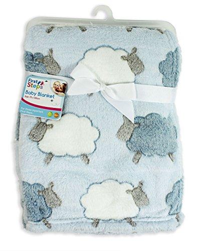 First Steps Weiche Babydecke, Vlies, für Neugeborene, inklusive Lätzchen, 75x100cm