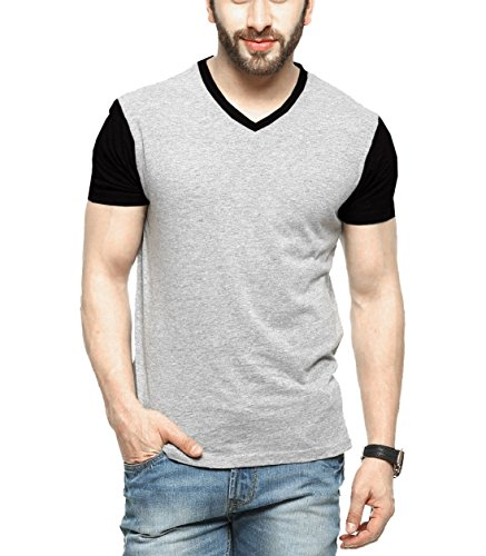 Tripr-Mens-V-NECK-Tshirt-Grey-Black