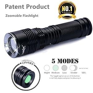 étanche lampe de poche, Luversco Supwildfire 50000lm 15x XM-L T6LED d'alimentation et mode Affichage digital de chasse lampe de poche en alliage léger