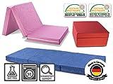 Faltmatratze / Klappmatratze DANIELA - Made in Germany - mit abnehmbar & waschbaren Bezug - als Gästebett / Gästematratze / Klappbett einsetzbar (blau)