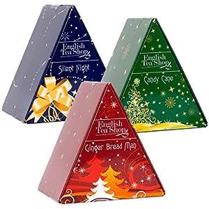 """English Tea Shop – """"Pyramiden Box Triple Pack Xmas"""", 3 verschiedene Geschenkboxen mit je 6 Pyramidenbeutel Weihnachtstees"""