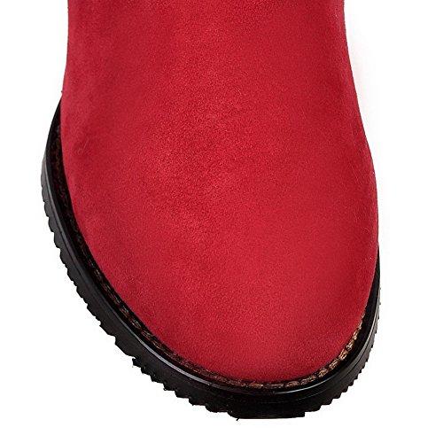 VogueZone009 Donna Alta Altezza Puro Cerniera Punta Tonda Tacco Medio Stivali con Metallo Rosso