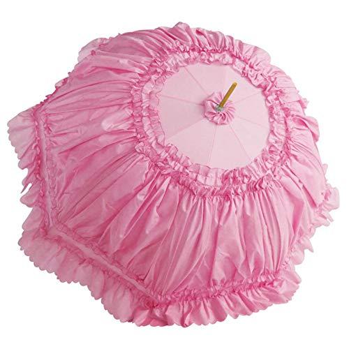 Zubehör Stil Kostüm - boastvi Spitzenschirm Damen Rüschenschirm Schirm mit Spitze Sonnenschirm Rüschen Sonnenschirm Kostüm Zubehör Damenschirm Viktorianischer Stil Brautschirm(Rosa Weiß schwarz rot)