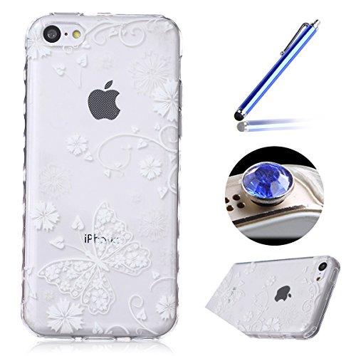 Etsue iPhone 5C Housse,Etui Housse Coque de protection Silicone TPU Gel pour iPhone 5C,silicone coloré imprimé en caoutchouc souple de gel Housse pour iPhone 5C + 1x Bleu style + 1x Bling poussière pl papillon blanc