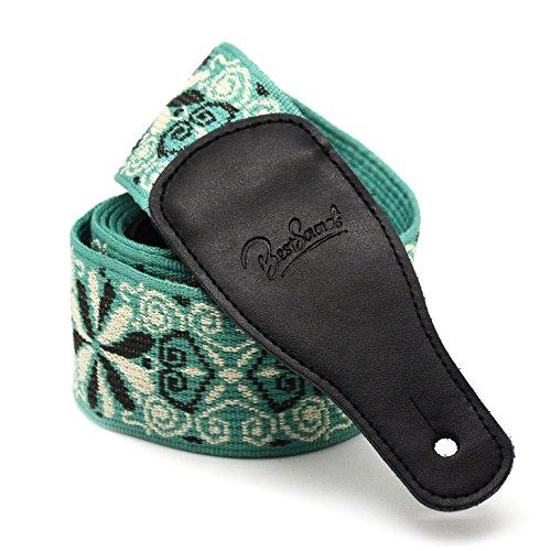 BestSounds Gitarrengurt, 6cm breit, Volksmusik-Stil, Baumwolle gewebt / geflochten, Gurt für E-Gitarre, Enden aus echtem Leder Guitar and Bass Strap-B