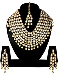 Traditional Jewellery Kundan Necklace Set With Maang Tika And Earrings For Women