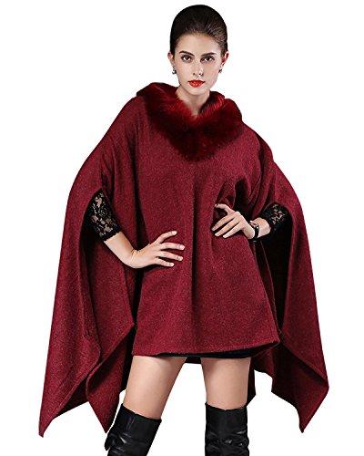 Dressvip Femme Poncho Cape Oversize Col en Faux Fourrure en Tricoté Manteau Rouge