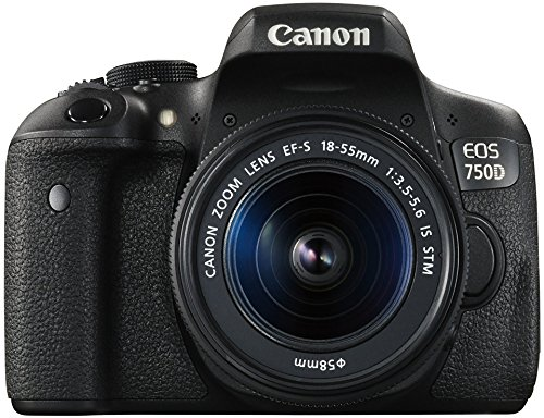 dslr mit wlan Canon EOS 750D SLR-Digitalkamera (24 Megapixel, 7,7 cm (3 Zoll) Display, Full-HD, APS-C CMOS-Sensor, WiFi, NFC) Kit inkl. 2x Objektive EF-S 18-55mm 1:3,5-5,6 IS STM und EF-S 55-250 1:4-5,6 IS STM schwarz