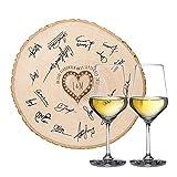 Casa Vivente Geschenkset zur Hochzeit – Zwei große Weißwein-Gläser – Riesenbaumscheibe als Gästebuch mit Gravur – Personalisiert mit [Initialen] und [Datum] – Geschenk für Braut und Bräutigam