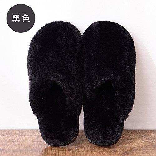 DogHaccd pantofole,Autunno Inverno home soggiorno con caldo cotone pantofole di spessore inferiore morbida indoor colore solido uomini e donne matura antiscivolo in cotone felpato mop Nero2